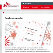 Geschenkurkunden Shop für Ärzte ohne Grenzen